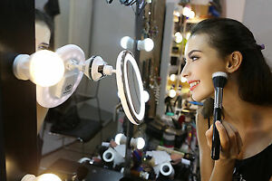 46LED Upgrade USB Recharge 10X Magnify Round Cosmetic Makeup Mirror Compact Base