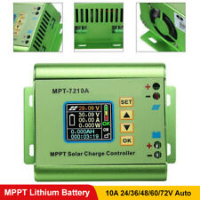 LCD MPPT Solar Panel Regulator Charge Controller Aluminum 24-72V Boost MPT-7210A