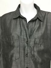 Cloth & Stone Anthropologie Womens M Gray Tencel Long-Sleeve Shirt Button-Down
