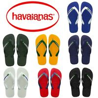 Original Havaianas Brazil Logo Top Flip Flops Beach Sandals All Sizes Unisex