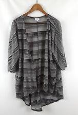 LULAROE Lindsay Topper Kimono Top Gray Black Stripes M Open Front Stretch Ribbed