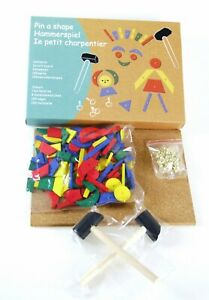 TAP A SHAPE toy - Hammer Nails / Pins Cork Board Wooden Shapes Activity Set Game
