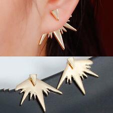 Sexy Sparkles Ear Jacket Stud Polygon Gold Plated Earrings Back Ear Cuffs Stud E