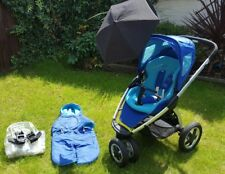 Maxi Cosi Mura 3 pushchair with cosy toes, raincover, parasol, adapters. Blue
