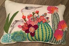 "New Anthropologie GORGEOUS Embroidered 20x13"" Decorative Pillow Cactus Bird"