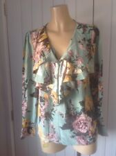 Joules Boutique Floral V Neck Ruffled Blouse Top Size UK 10 Long Sleeves, VGC
