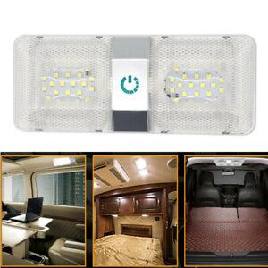 1PCS RV 48LED 12v Ceiling Fixture Double Dome Light For Camper Trailer Marine
