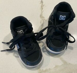 DC SHOE CO. BABY TODDLER (SIZE 5) THROWBACKS  GRAY Black HIGH TOPS Leather