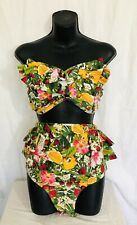 Retro High Waisted Bathing Suit 2 Piece Size 2XL Bandeau Top Ruffles Fruit Motif
