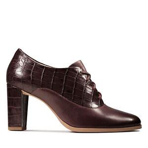BNIB Clarks Ladies Kaylin Ida Bugundy Combi Leather Lace Up Heeled Shoes
