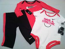 New 9 12 months Girls NIKE 3PC set LS & SS bodysuit shirt tights pants pink blck