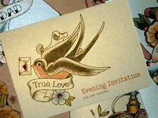 Swallow & love letter tattoo handmade evening wedding reception invitations
