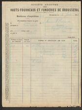 BROUSSEVAL 52 : HAUTS FOURNEAUX & FONDERIES en 1913