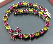 72.5 ct-Natural-Tourmaline-tennis-bracelet-sterling-silver-Natural-lustrous-rare