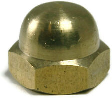 Brass Solid Hex Acorn Cap Nut UNF 1/4-28, Qty 25