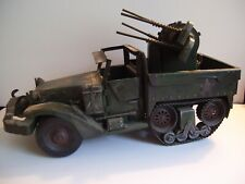 Vintage Metal Toy U.S. Army Half Track Truck w/Anti Aircraft Guns Large/Detailed