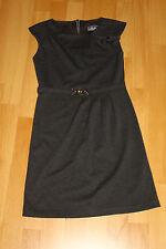 Kleid grau anthrazit kurz Gr 32 XXS XS Schleife Brosche Gürtel