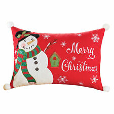 Led Lighted Embroidered Merry Christmas Snowman Throw Pillow