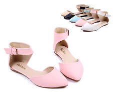 Pink nn Ankle Strappy Point Toe Casual Women Ballet Flats Dress Shoes Size 9