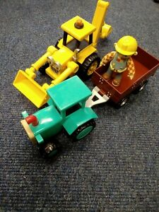 Bob The Builder Scoop & travis Push & Go vehicles With Poseable Bob Figure T1000