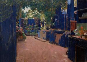 Blue Courtyard. Arenys de Munt, 1913, SANTIAGO RUSINOL Spanish Art Poster