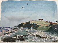 Watercolour Impressionist Karl Adser Coast With Swallows And Rindern 29 x 22