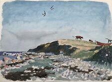 Aquarell Impressionist Karl Adser Küste mit Schwalben und Rindern 29 x 22