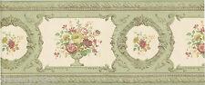 Victorian Architectural Molding Flower Urn Green Silk Shinny Wall paper Border