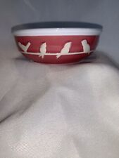New listing Pink And White Ceramic Kitty/Cat Feeding Bowl With Birds : Whisker City