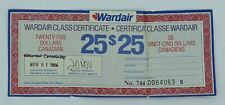 Vintage Wardair Canada Airline $25 Class Paper Certificate 1986 Credit