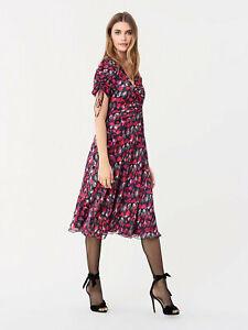Diane Von Furstenberg ruffled crinkle 'eleonora' dress CURRENT size2 (or UK10)