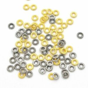 200pcs Antique Wheel Spacer Beads Metal Loose Charm Bead Jewelry Making Accessor