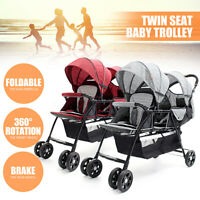 2 Seater Folding Double Twins Baby Trolley Front Back Tandem Stroller Car Kid
