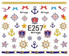 Nail Art Sticker Water Decals Transfers Anchors Ship's Wheel Nautical (E257)