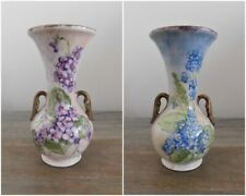 Vintage War-time Abingdon Pottery USA Vase - Hand Painted Violets Flowers RARE