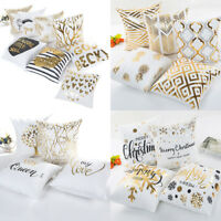 "18"" Letter Gold Foil Printing Pillow Case Throw Cushion Cover Sofa Home Decor"