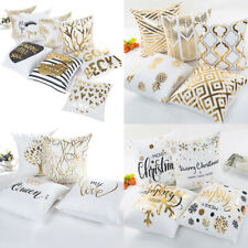 """18"""" Letter Gold Foil Printing Pillow Case Throw Cushion Cover Sofa Home Decor"""