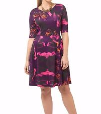 Triste Neon Brushstroke Fit And Flare Women Dress Size 3X