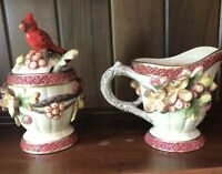 Geo Z Lefton 2001 Covered Sugar Bowl With Spoon and Creamer Set Cardinal Holiday