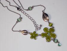 Cute Green Enamel Flower Pendant Silver Leaf Necklace Moonglow Rhinestone 8d 27