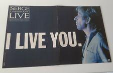 Publicité 2 pages advert concert tournée SERGE GAINSBOURG 1986 ALBUM LIVE