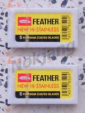 10 Blades Razor Blade Vintage Shaving Safety  Double Edge New Coated - Feather