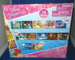 CARDINAL DISNEY PRINCESS 12 PUZZLES 5 46PC, 5 63PC, 2 100PC PUZZLE PACK NEW