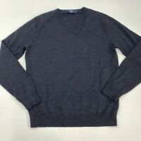 J.Crew Knit Sweater Men's Medium Long Sleeve Dark Gray V Neck 100% Merino Wool