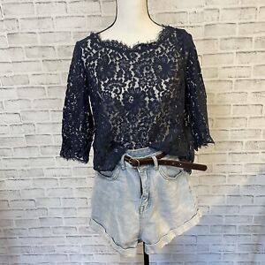 Joie Blue Navy lace Blouse Size Medium New With Out Tags Boho Bohemian layering