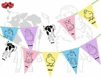 Farmyard Farm Animals Themed Multicoloured Bunting Banner 15 flags Kids Party