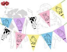 Corral animales de granja temática Multicolor Banderas Banner Bunting 15 Fiesta De Niños