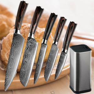 6 Stück Küchenmesser Set Japanisches Damaskus Stil Edelstahl mit Messerblock