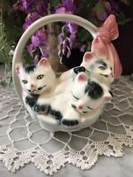 VTG 50s Mid Century 3D Cats Kittens in a Basket Pink Bow 1950s Royal Copley USA