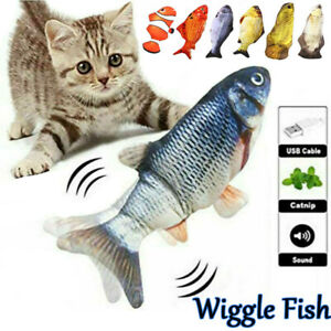 Electric Dancing Fish Kicker Cat Toys Wagging Realistic Catnip Moving Fish USB